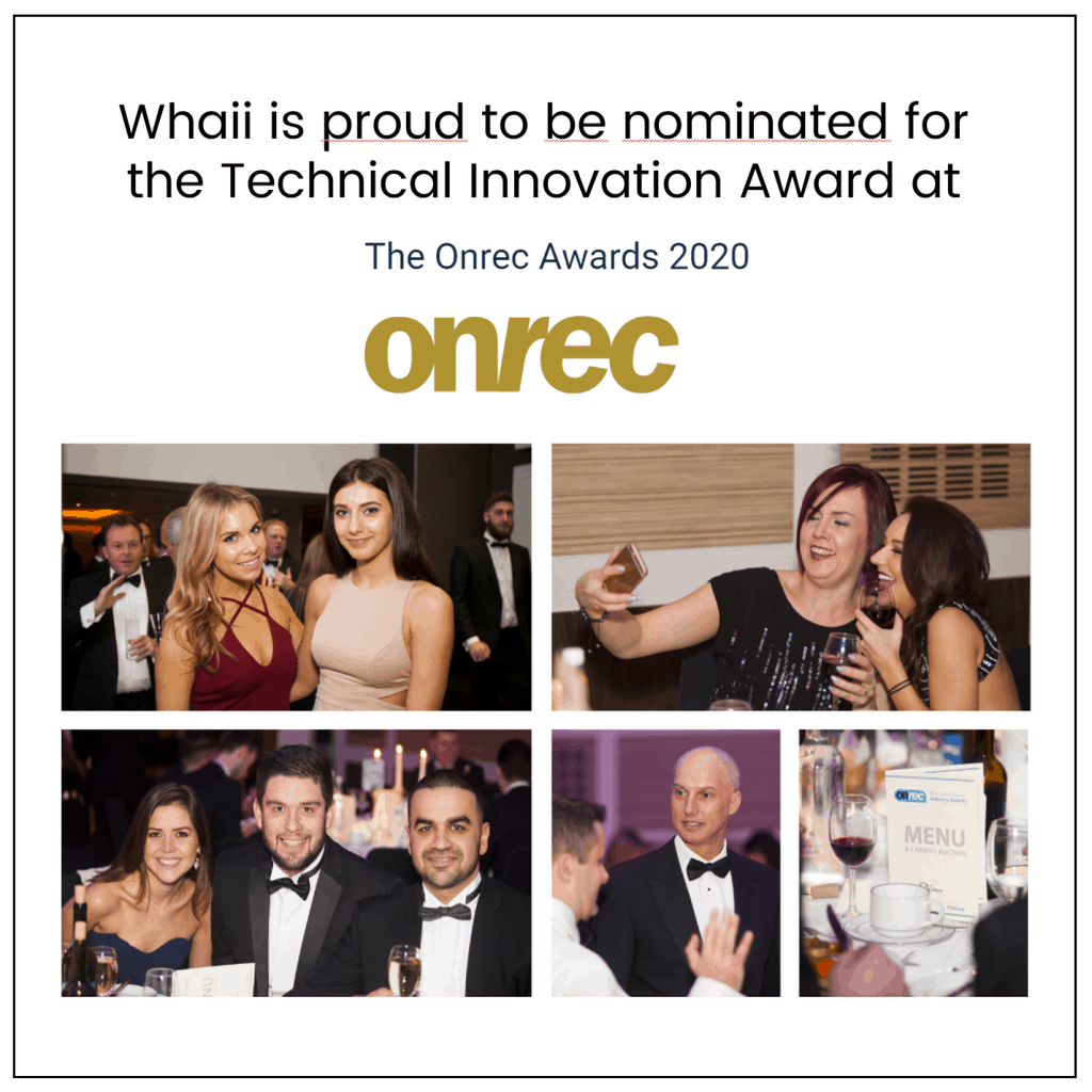 Whaii nominated for the Onrec Technology Innovation Award 2020